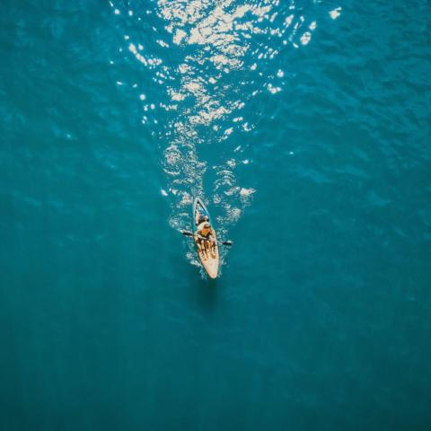 Aerial photography of person in a kayak