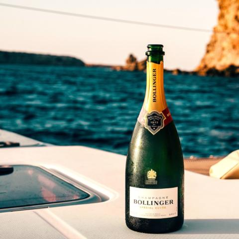 Bollinger wine bottle on boat 3461205