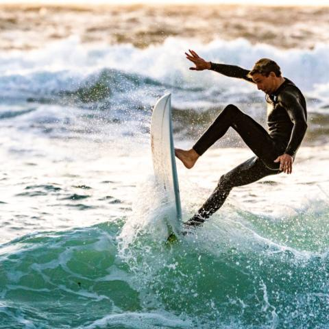 Surfer performing